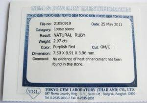 Example of local certificate in Bangkok.  Tokyo Lab Certificate Sample Front