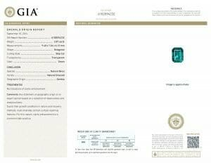Buy Gemstone online - Certificate copy in how 2.87 carats no oil emerald is classified by GIA