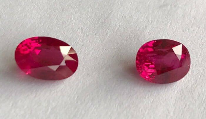 Best lab to check gemstones? - Image of Couple of Burma (Myanmar) 2 carat rubies certifed by GRS as vivid red (GRS Type: pigeon's blood)